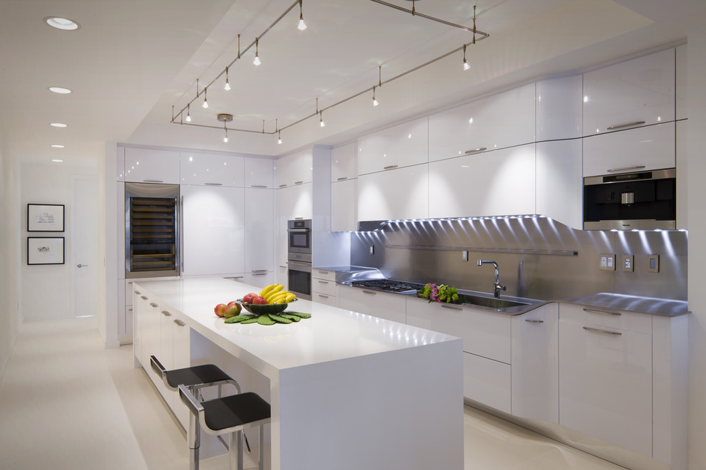 monorail lighting. Monorail-lighting-Kitchen-Modern-with-accent-lighting -black-barstools-high-gloss-cabinets Monorail Lighting