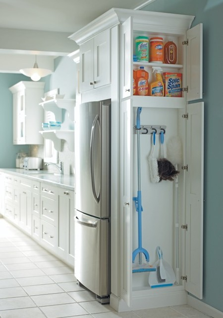 Mop and Broom Holder Kitchen with Broom Storage Cabinet Cabinetry Cabinets Cleaning Supply Storage Diamond