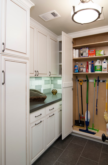 Mop and Broom Holder Laundry Room Craftsman with Alder Bathroom Bay Area Beech Brentwood Cabinets California Cherry