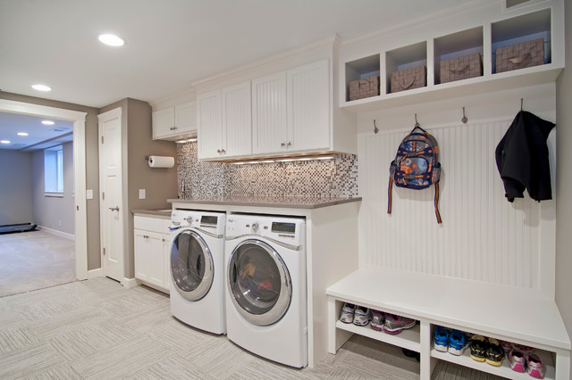 Mop and Broom Holder Laundry Room Traditional with Basket Storage Beadboard Coat Hooks Gray Mosaic Tile Recessed