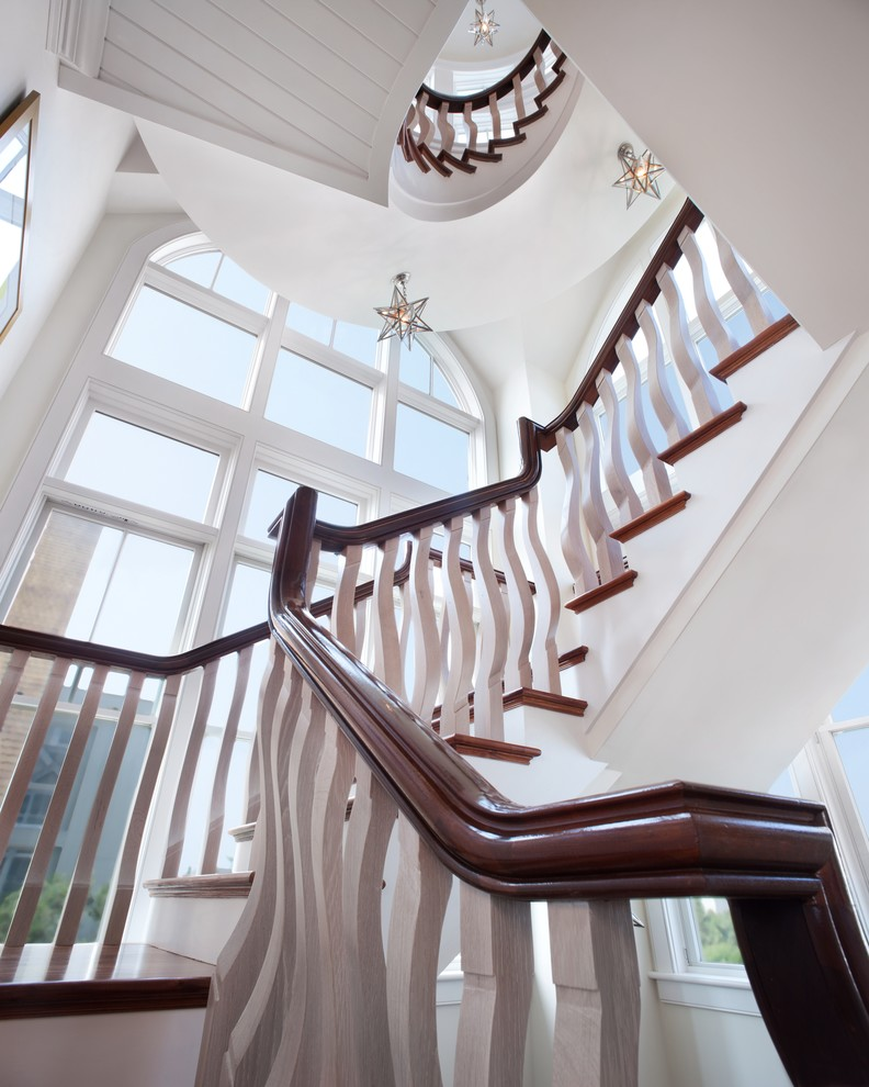 Moravian Star Light Staircase Beach with Arched Window Banister Beach House Crazy Staircase