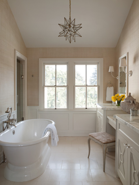 moravian star pendant Bathroom Traditional with 2 over 2 windows dressing table stool Free-standing bathtub