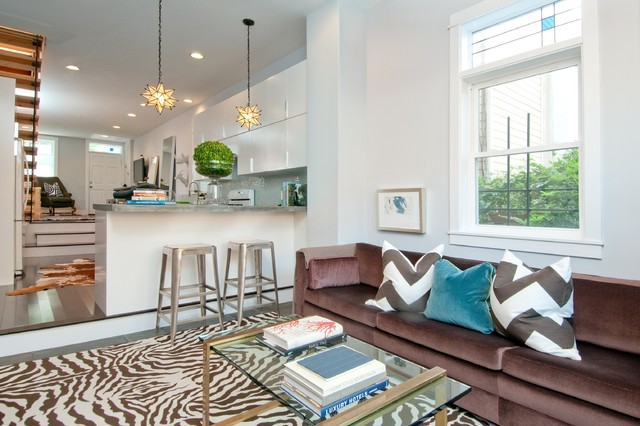 Moravian Star Pendant Family Room Transitional with Chevron Pillows Glass Table Iron Work Kitchen Open Tread