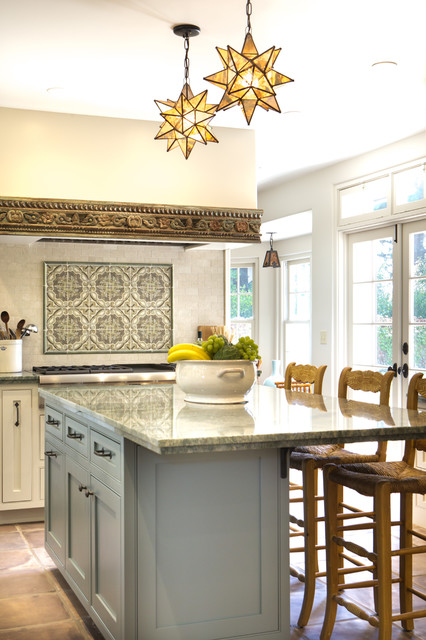 Moravian Star Pendant Kitchen Traditional with Cantilevered Island Countertop Hood Detail Island Lighting Island Seating
