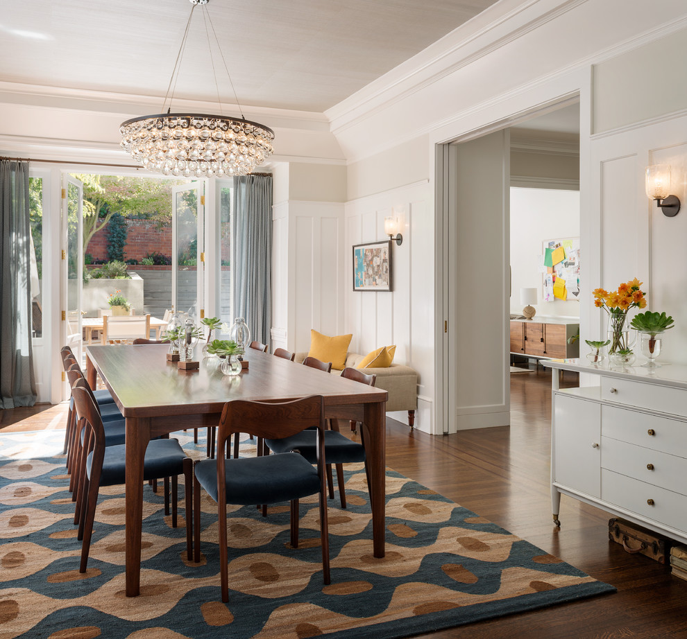 Moroccan Chandelier Dining Room Transitional With Area Rug Blue Board And Batten