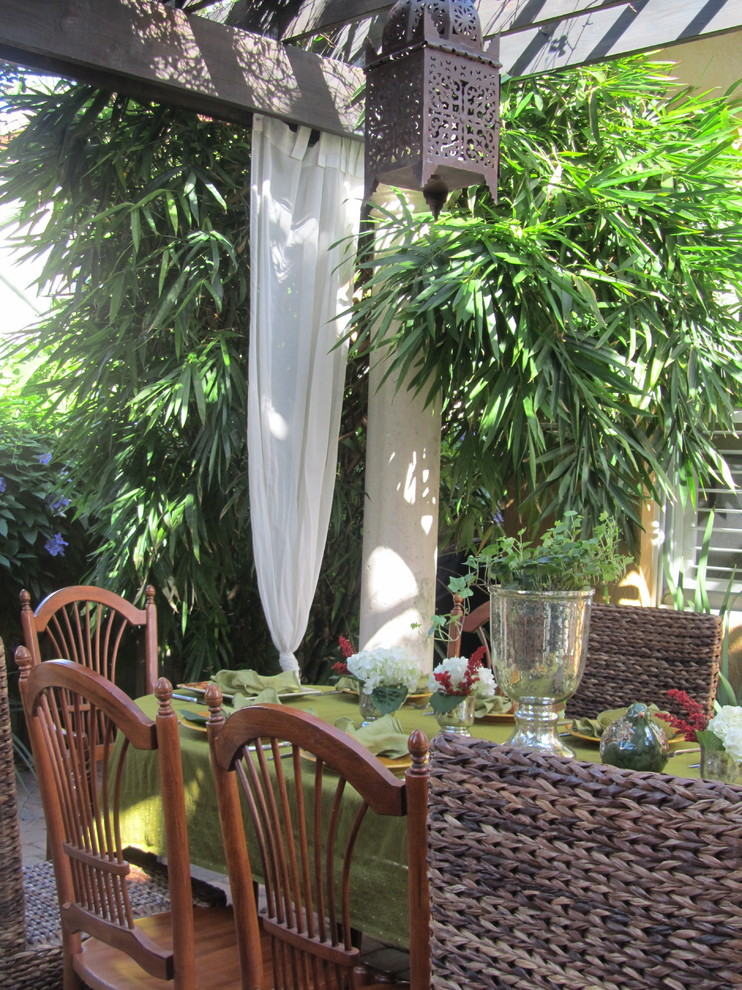 moroccan chandelier Patio Tropical with buddha belly bamboo container plants covered patio