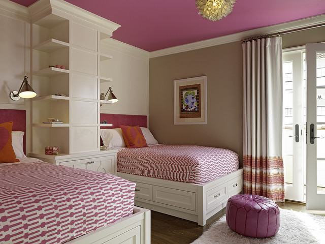 Moroccan Pouf Bedroom Transitional with Bed Pillows Bookcase Bookshelves Built in Storage Crown Molding
