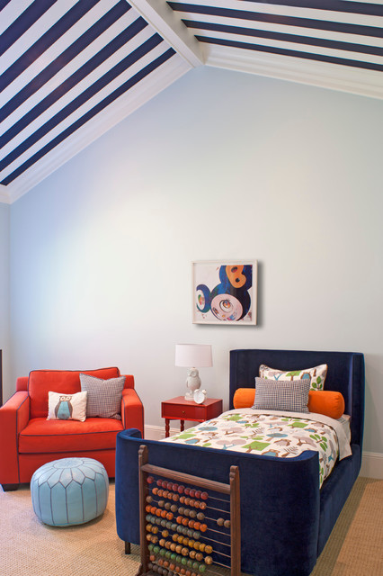 Moroccan Pouf Kids Contemporary with Blue Blue Striped Ceiling Dark Blue Bed Kids Room