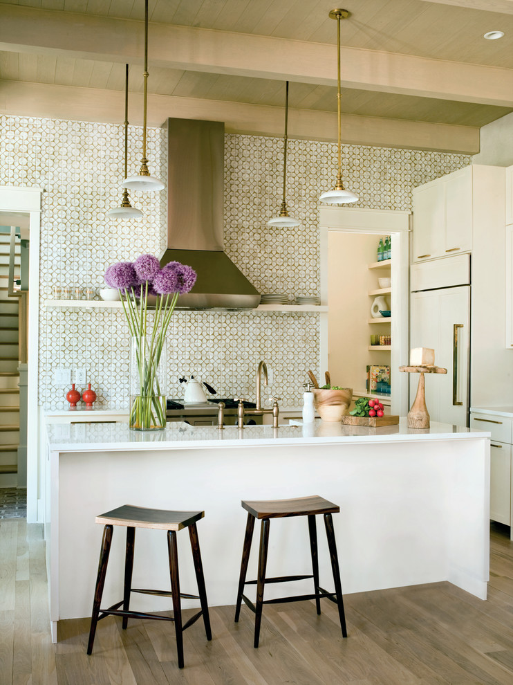 Moroccan Tile Backsplash Kitchen Transitional with Alliums Breakfast Bar Eat in Kitchen Exposed Beams