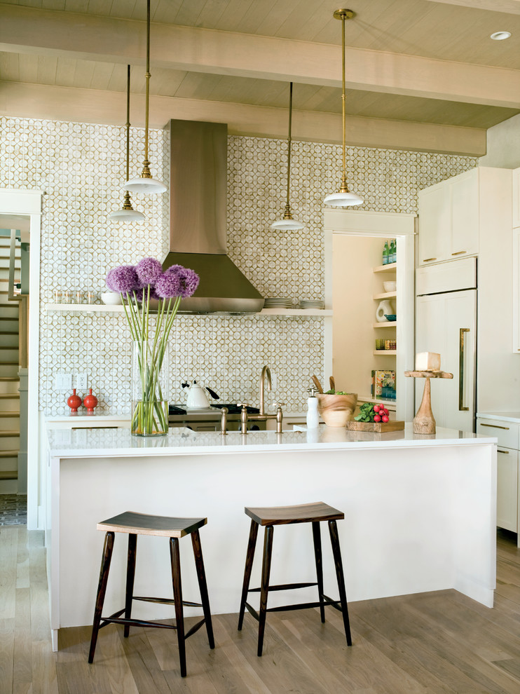 Moroccan Tile Backsplash Kitchen Tropical with Beams Brass Counter Stools Integrated Kitchen Open