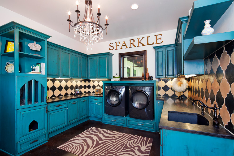 Moroccan Tile Backsplash Laundry Room Traditional with Black Counter Black Laundry Room Appliances Blue