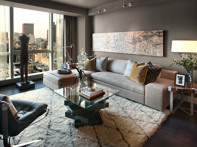 High Quality Moroccan Trellis Rug Living Room Contemporary With Abstract Art City View  Glass Table Top Gray Sectional