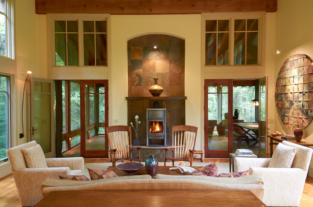 morso wood stove Living Room Transitional with arch archway beige armchair beige sofa beige wall covered