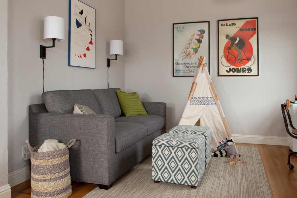 Most Comfortable Sleeper Sofa Family Room Transitional with Beige Rug Blanket Basket Desk Gray Couch
