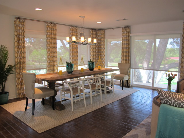 Motorized Shades Dining Room Traditional with Brick Floors Geometric Pattern Curtains Roller Shades Sliding Glass