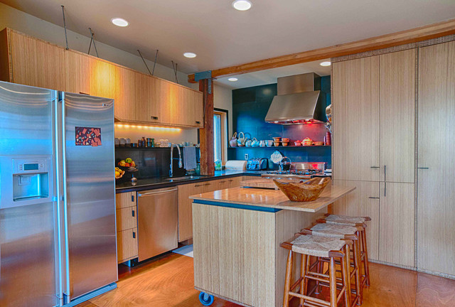 movable kitchen islands Kitchen Eclectic with bar stools black granite counter stools floating shelves kitchen
