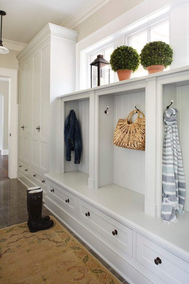 Mud Room Bench Entry Traditional with Antique Rug Antique Runner Benjamin Moore Boots
