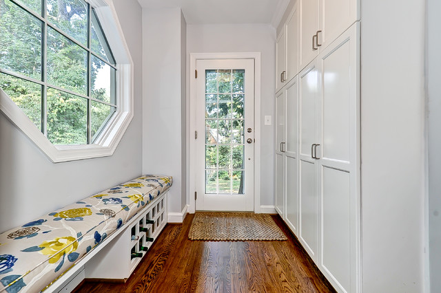 Mudroom Storage Bench Entry Contemporary with Back Door Built in Bench Closets Entry Bench Gray Walls