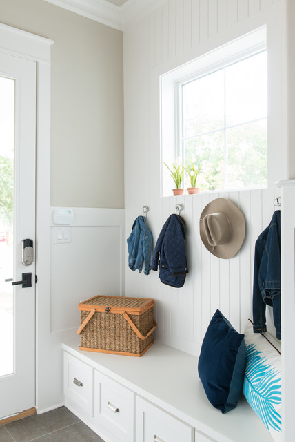Mudroom Storage Bench Entry Farmhouse with Built in Bench Coat Hooks Glass Door Shiplap Square
