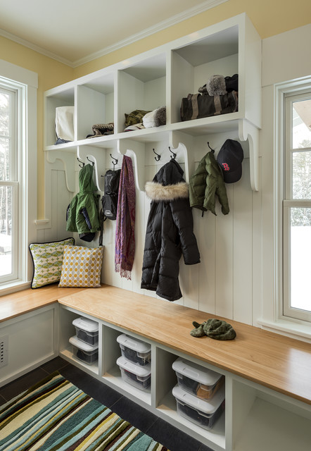 Mudroom Storage Bench Entry Traditional with Area Rug Bench Seating Built in Storage Coat Hooks Cubby