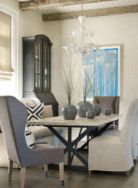 murano chandelier Dining Room Beach with blue abstract art exposed beams gray vases murano chandelier
