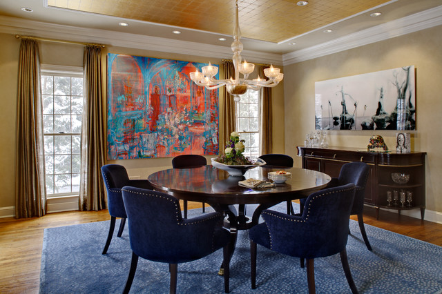 Murano Glass Chandelier Dining Room Traditional with Buffet Curtains Dining Room Gold Walls Gold Leaf Ceiling Hardwood
