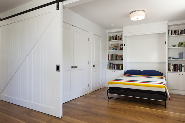 murphy bed hardware Bedroom Contemporary with built-in bookshelf built-in cabinets drum ceiling light guest room