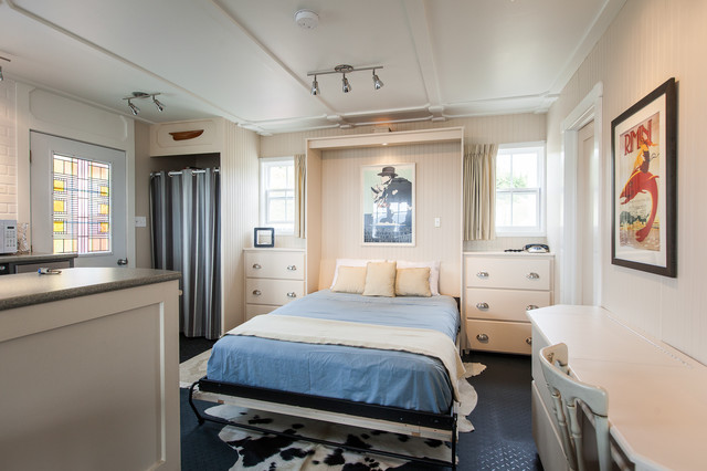 Murphy Bed Kits Bedroom Beach with Beadboard Blue Bedding Built in Bed Closet Curtain Fold Out