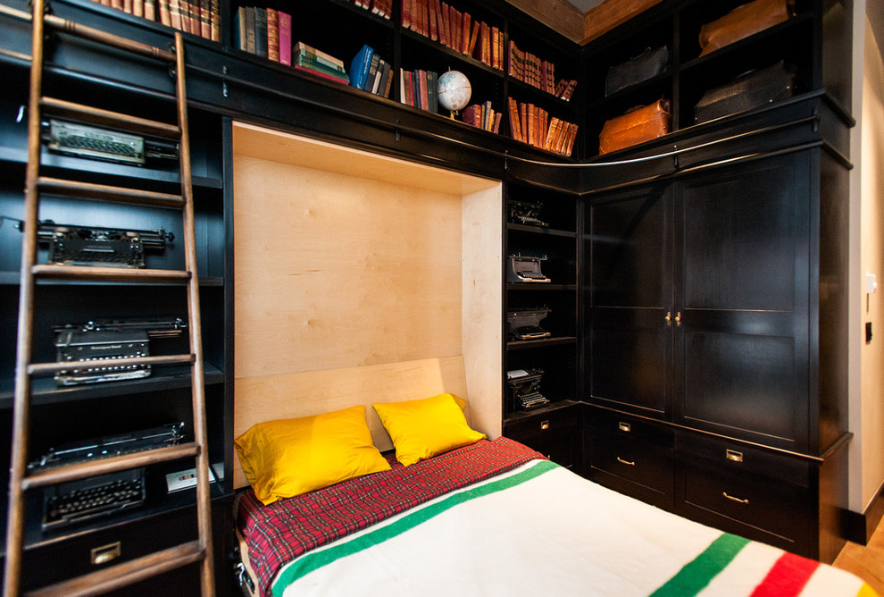 Murphy Bed with Desk Bedroom Eclectic with Books Built Ins Built in Bookcase Dark Wood