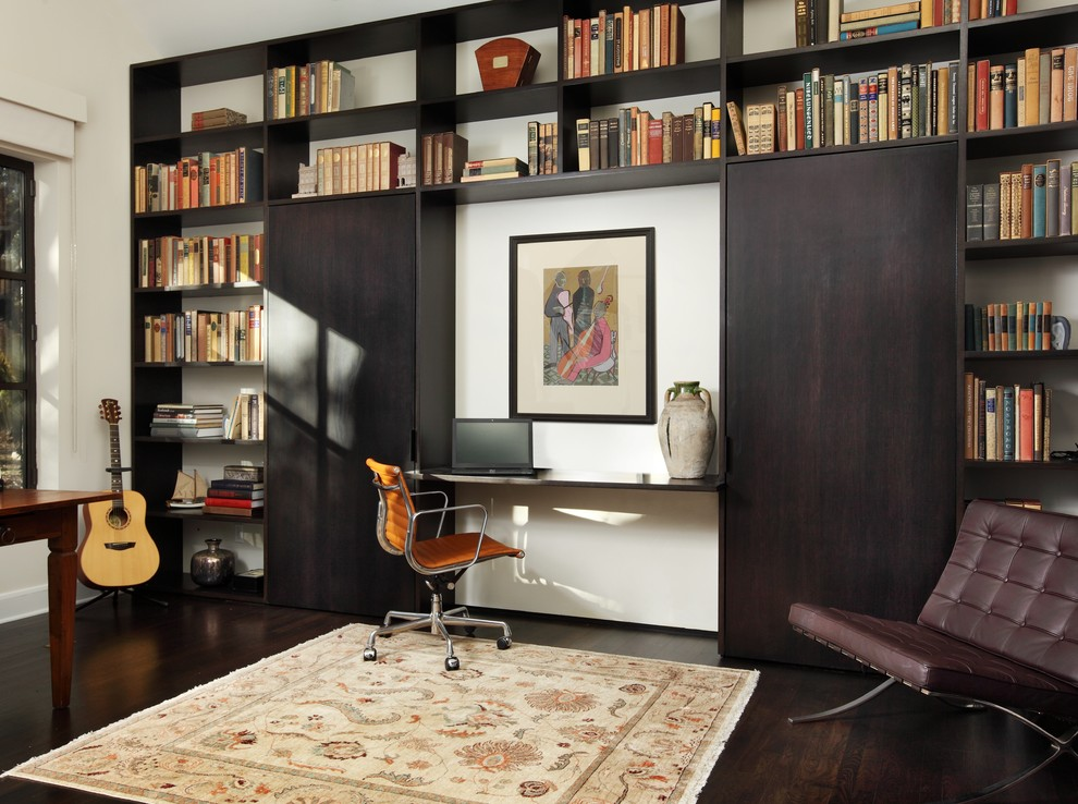 Murphy Bed with Desk Home Office Contemporary with Bookshelves Brown Leather Side Chair Built In