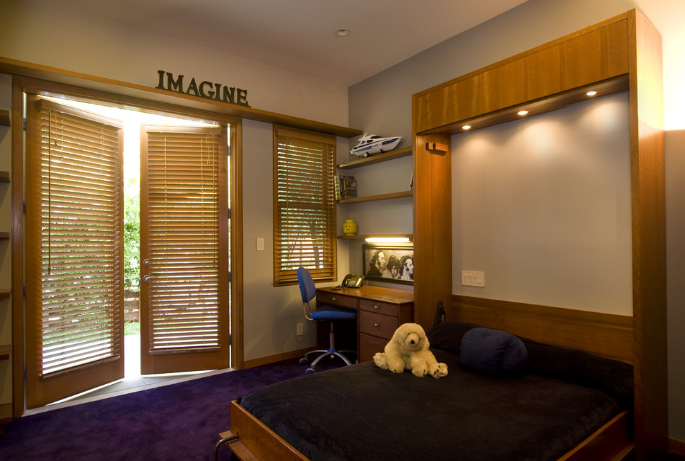Murphy Bed with Desk Kids Eclectic with Accent Wall Bedroom Bookshelves Floating Shelves French
