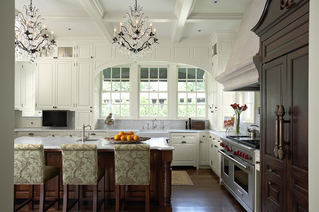 Murray Feiss Kitchen Traditional with Apron Sink Archway Breakfast Bar Cabinet Front Refrigerator Ceiling