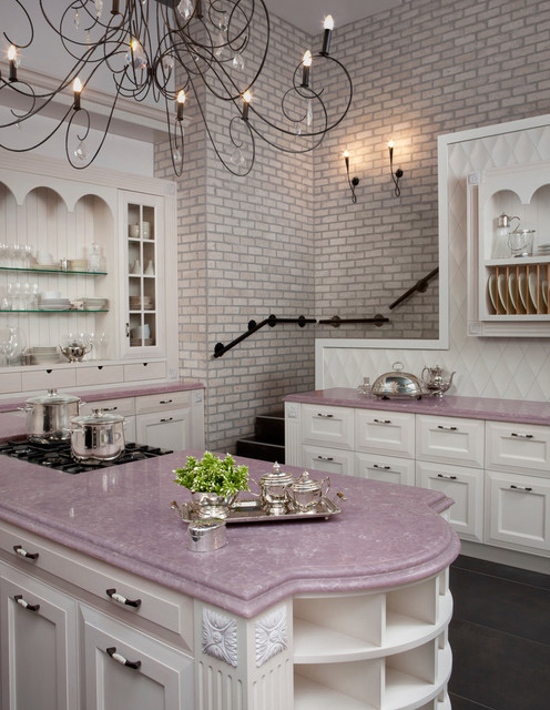 Murray Feiss Kitchen Traditional with Beige Cabinets Beige China Cabinet Beige Drawers Brick Wall