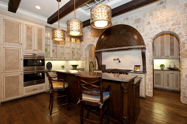 Murray Feiss Kitchen Traditional with Beige Cabinets Beige Mosaic Tile Trim Built in Shelves