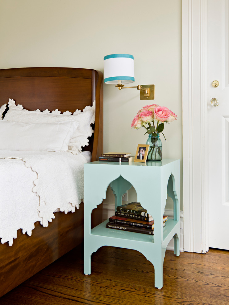 narrow bedside table Bedroom Traditional with aqua nightstand Bedroom brass wall sconce glass