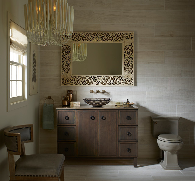 Narrow Dresser Bathroom Traditional with Glass Neutral Tile Wood