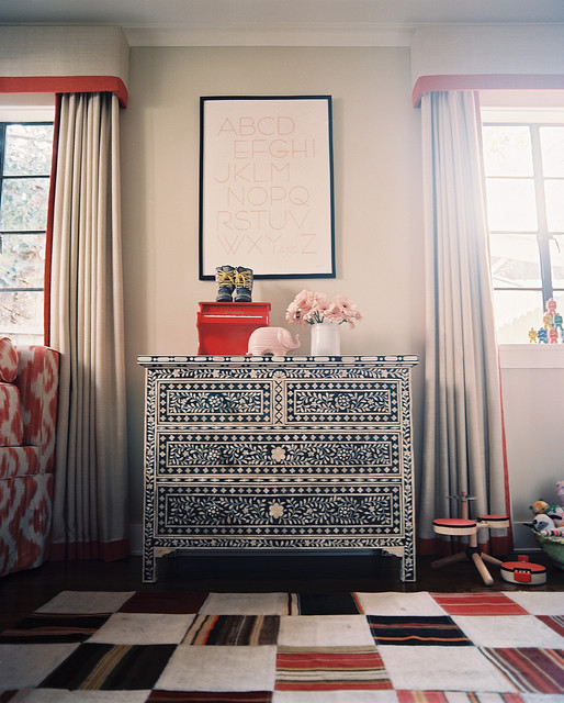 Narrow Dresser Living Room Eclectic with Area Rug Artwork Chest of Drawers Curtains Drapes Dresser