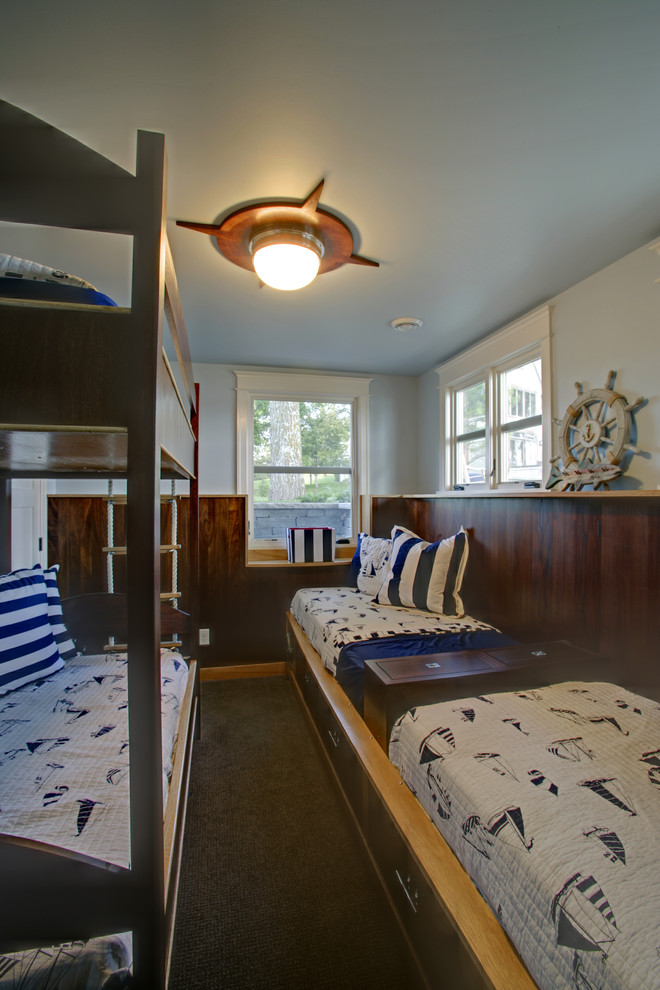 Nautical Light Fixtures Kids Traditional with Blue and Gray Bedding Brown Carpet Bunk