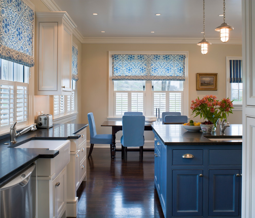 Nautical Pendant Lights Kitchen Traditional with Black Countertop Blue Dining Chairs Blue Roman