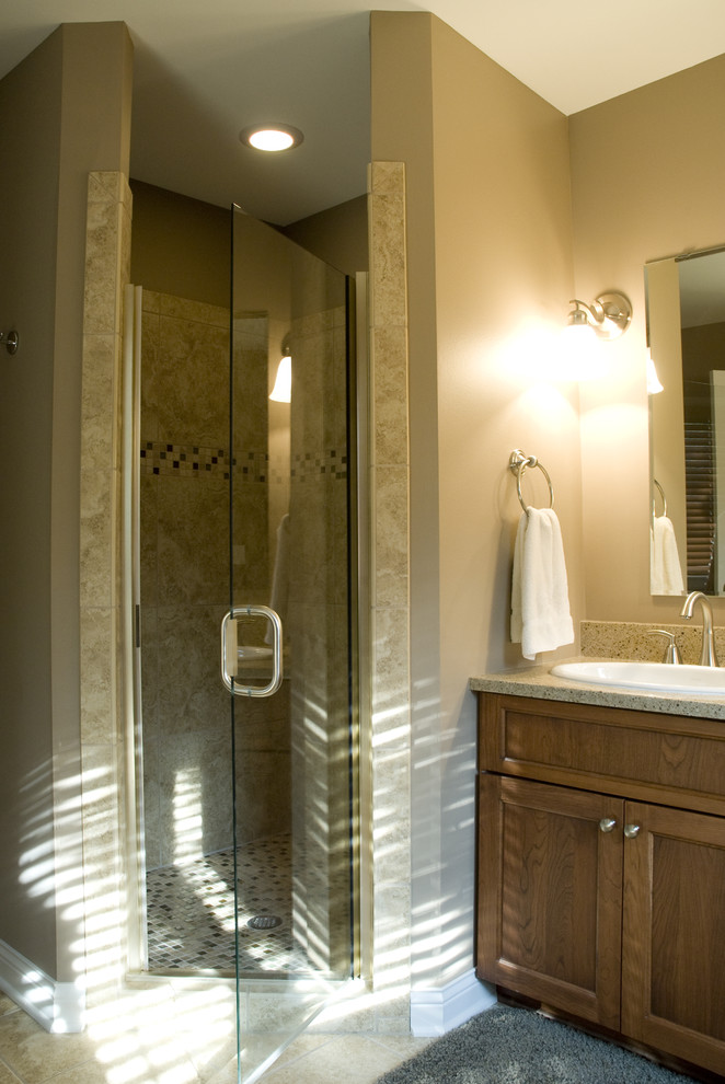 Neo Angle Shower Bathroom Traditional with Glass Shower Door Neutral Colors Sconce Towel