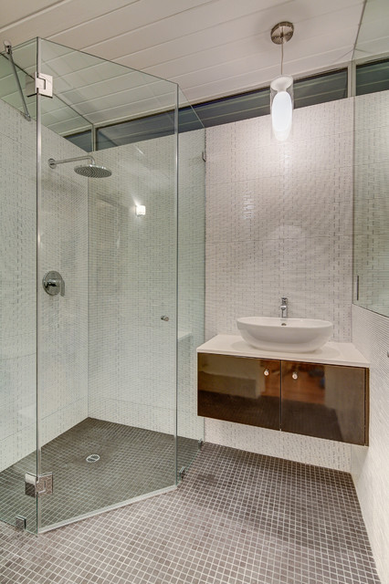 neo angle shower doors Bathroom Midcentury with CEILING LIGHT curbless shower floating vanity glass shower rain