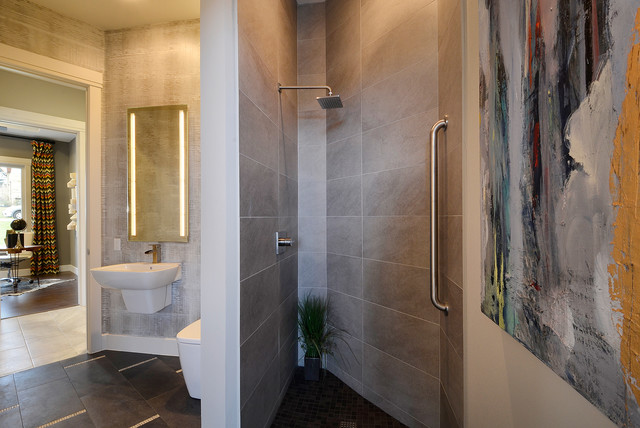 Neo Angle Shower Rod Bathroom Contemporary with Beige Patterned Wallpaper Beige Tile Shower Beige Tile Wall