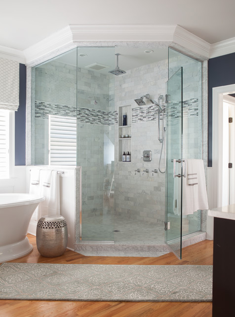 Neo Angle Shower Rod Bathroom  Traditional With Accent Tile Benjamin Moore Fossil Benjamin Moore Gray Owl