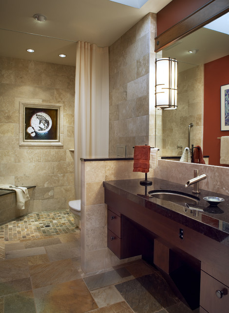 neo angle shower rod Spaces Contemporary with bathroom lighting ceiling lighting dark wood cabinets earth tone