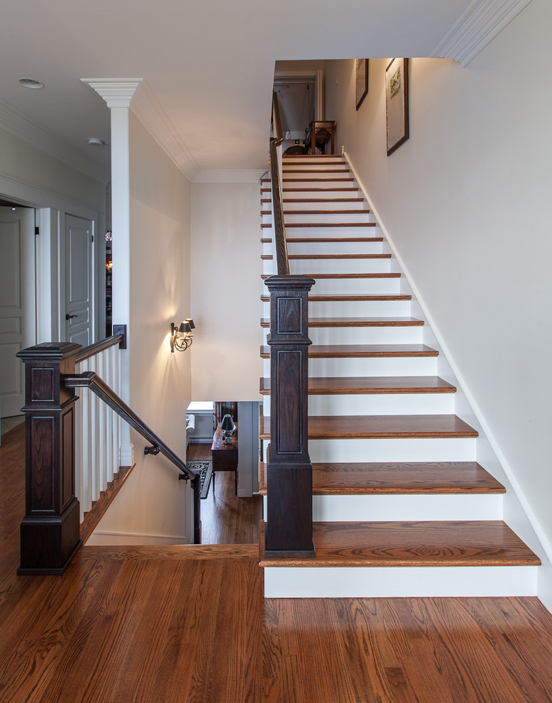 Newel Post Staircase Traditional With Hall Hardwood Stairs  Traditional Traditional Handrail White