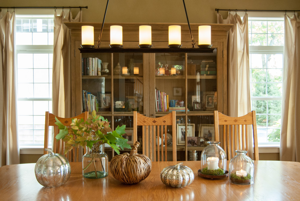 Nicole Miller Home Decor Dining Room Farmhouse with Bell Jar Bookcase Cabinet Candles Chandelier Country