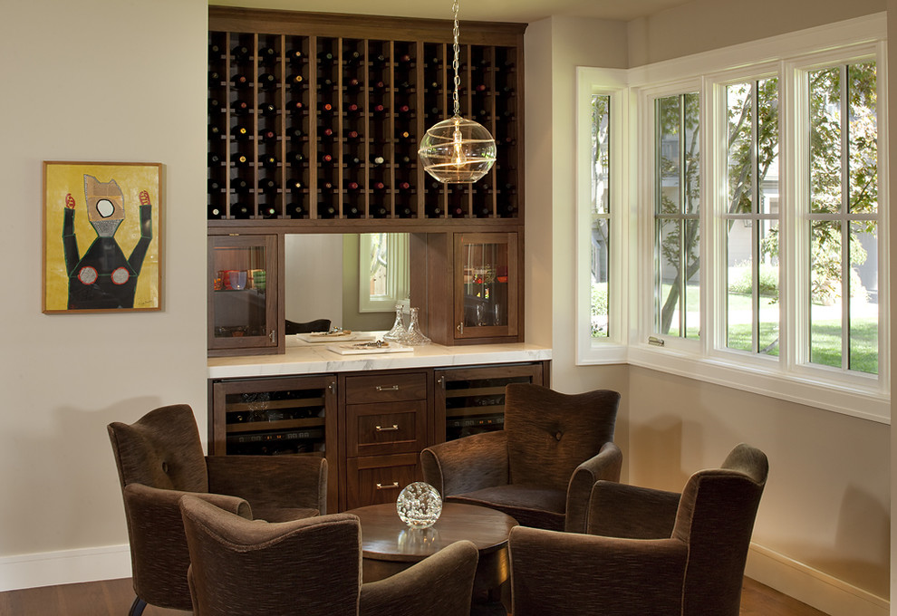 nicole miller home decor Family Room Contemporary with armchair bar baseboards built ins glass front