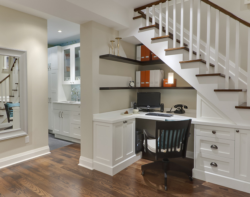 Nicole Miller Home Decor Home Office Traditional with Baseboards Basement Built in Desk Built In