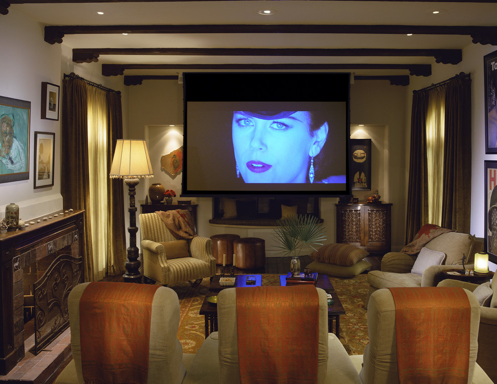 Nicole Miller Home Decor Home Theater Mediterranean with Ceiling Lighting Earth Tone Colors Exposed Beams