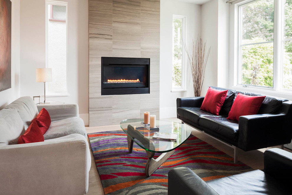 Noguchi Table Living Room Contemporary with Black Leather Sofa Branches Bright Rug Contemporary